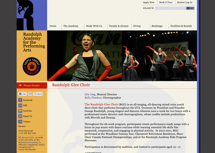 Randolph Academy Website Glee Page