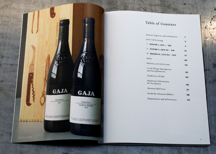 Vintages Auction Catalog Table of Contents