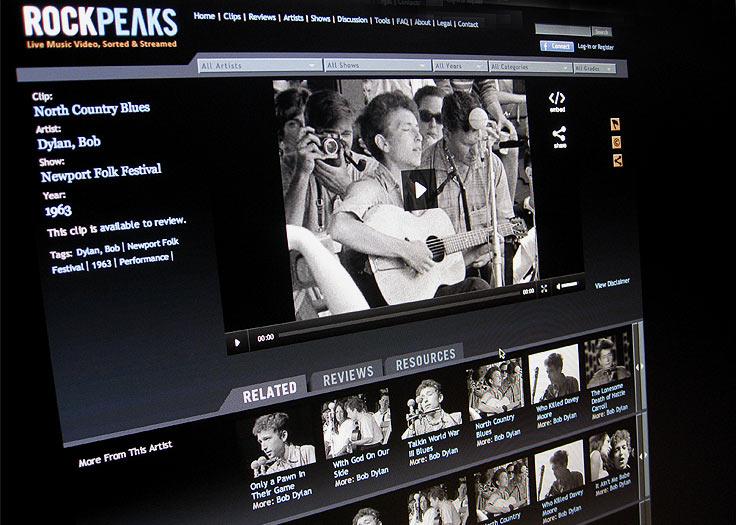 RockPeaks Bob Dylan Video Player
