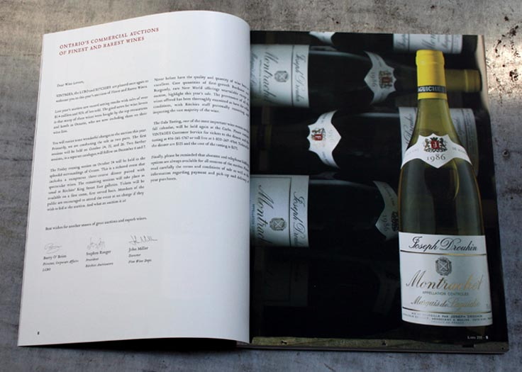 Vintages Auction Catalog Type and Image Spread