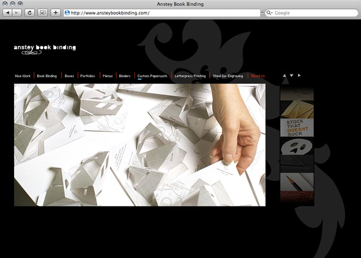 Anstey Book Binding Website Paperwork Page