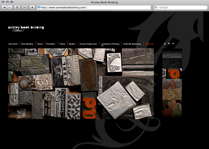 Anstey Book Binding Website Letterpress Page