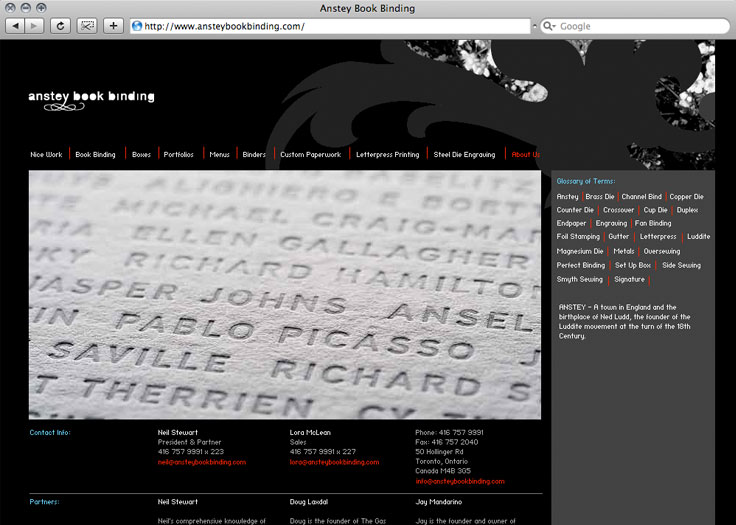 Anstey Book Binding Website About Page